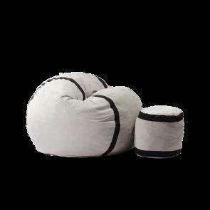 Set Fotoliu Puf Matusalem + Otoman - Angora Grey (Gama Premium) umplut cu fulgi de burete memory mix®