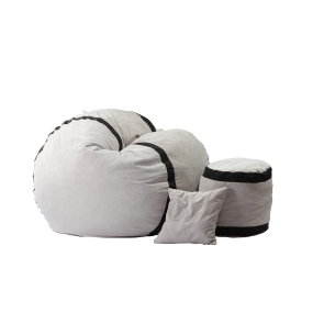 Set Fotoliu Puf Matusalem + Otoman + Perna decorativa - Angora Grey (Gama Premium) umplut cu fulgi de burete memory mix®