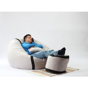 Fotoliu Pufrelax King Size + Otoman + Perna decorativa - Angora Grey (Gama Premium) umplut cu fulgi de burete memory mix®