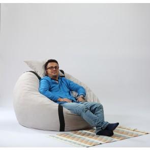 Fotoliu Pufrelax King Size + Perna decorativa - Angora Grey (Gama Premium) umplut cu fulgi de burete memory mix®