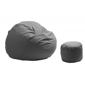 Fotoliu Pufrelax King Size + Otoman - Light Grey (Gama Premium Rustic) umplut cu fulgi de burete memory mix®