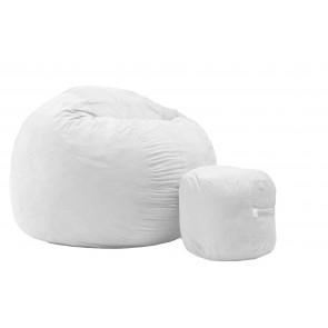 Set Fotoliu Puf King Size XL  + Otoman - Angora Grey (Gama Premium) umplut cu fulgi de burete memory mix®