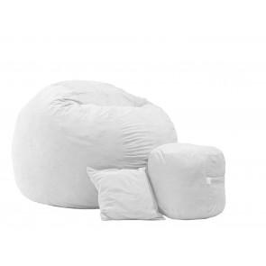 Set Fotoliu Puf King Size XL + Otoman + Perna decorativa - Angora Grey (Gama Premium) umplut cu fulgi de burete memory mix®