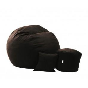 Fotoliu Pufrelax King Size + Otoman + Perna decorativa - Dark Chocolate (Gama Premium) umplut cu fulgi de burete memory mix®