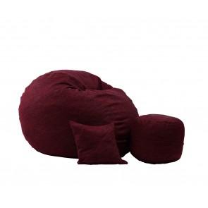 Fotoliu Pufrelax King Size + Otoman + Perna decorativa - Red Wine (Gama Premium Rustic) umplut cu fulgi de burete memory mix®