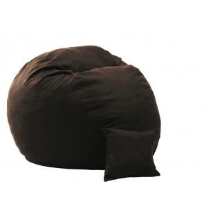 Fotoliu Pufrelax King Size + Perna decorativa - Dark Chocolate (Gama Premium Textil) umplut cu fulgi de burete memory mix®