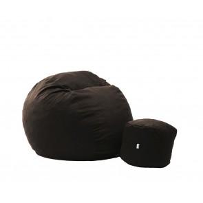 Set Fotoliu Puf Matusalem + Otoman - Dark Chocolate (Gama Premium Textil) umplut cu fulgi de burete memory mix®