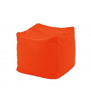 Fotoliu Taburet Cub - Neon Orange (pretabil si la exterior) umplut cu perle polistiren