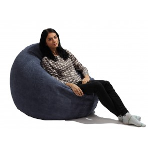 Fotoliu Beanbag Relaxo XL - Dusty Blue (Gama Plush Honey)  umplut cu perle polistiren