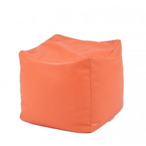 Fotoliu Taburet Cub XL - Orange (piele eco) umplut cu perle polistiren