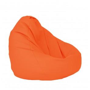 Fotoliu Puf tip Sac Nirvana Grande - Orange (piele eco) umplut cu perle polistiren