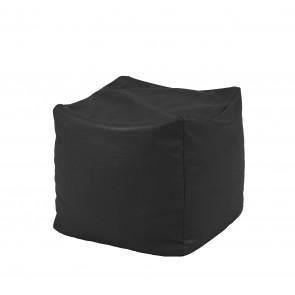 Fotoliu Taburet Cub - Panama Black (pretabil si la exterior) umplut cu perle polistiren