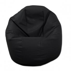 Fotoliu Beanbag Relaxo - Negru (piele eco) umplut cu perle polistiren