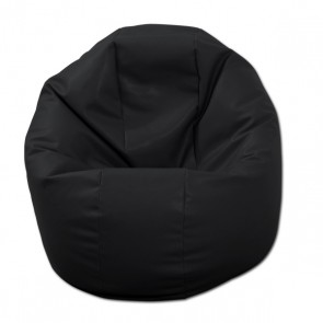 Fotoliu Puf pentru Copii (2-14 ani) Relaxo - Negru (piele eco) umplut cu perle polistiren