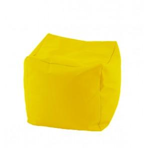 Fotoliu Taburet Cub - Yellow Quince (pretabil si la exterior) umplut cu perle polistiren