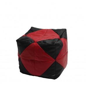 Fotoliu (Mic) Taburet Cub -  Red Diamond (piele eco) umplut cu perle polistiren (beanbag marca Pufrelax) Fabricat in Romania