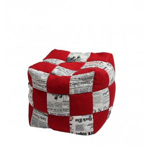 Fotoliu Taburet Cub - Red Paparazzi (Gama Premiuml) umplut cu perle polistiren