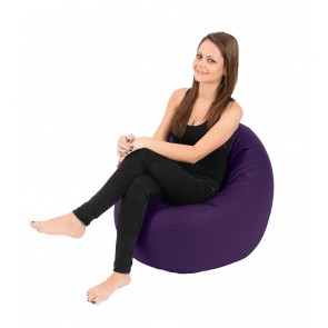 Fotoliu Beanbag Relaxo - Purple (Gama Premium PU) umplut cu perle polistiren