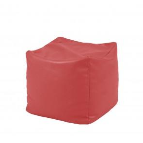 Fotoliu Taburet Cub XL - Rosu (piele eco) umplut cu perle polistiren