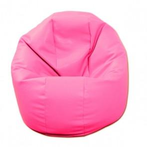 Fotoliu Puf pentru Copii (2-14 ani) Relaxo - Roz bombon (piele eco) umplut cu perle polistiren