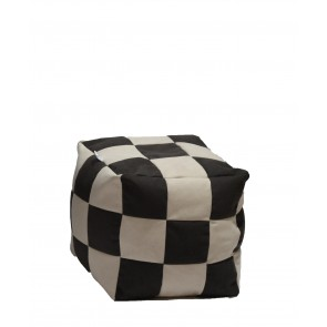 Fotoliu Puf Taburet Cub - Black & Cream (Gama Premium) cu husa detasabila textila, umplut cu perle polistiren