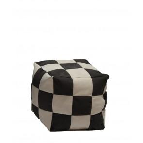 Fotoliu Puf Taburet Cub XL - Black & Cream (Gama Premium),umplut cu perle polistiren