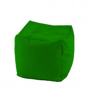 Fotoliu Taburet Cub - Panama Green (pretabil si la exterior) umplut cu perle polistiren