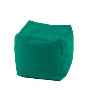 Fotoliu Taburet Cub - Panama Smarald (pretabil si la exterior) umplut cu perle polistiren