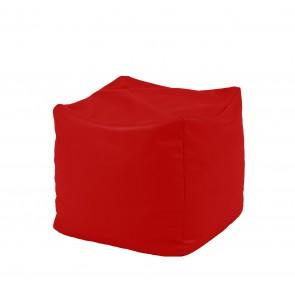 Fotoliu Taburet Cub - Panama Red (pretabil si la exterior) umplut cu perle polistiren