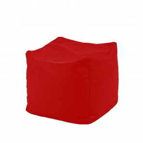 Fotoliu Taburet Cub - Teteron Red (pretabil si la exterior) umplut cu perle polistiren