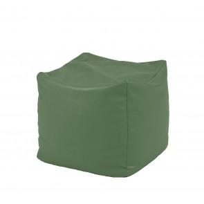 Fotoliu Taburet Cub - Wka Waka Green (GAMA PREMIUM PU) umplut cu perle polistiren