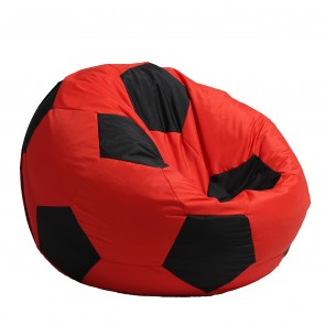 Fotoliu Beanbag tip Minge Telstar XXL -  Red & Black (pretabil si la exterior) umplut cu perle polistiren