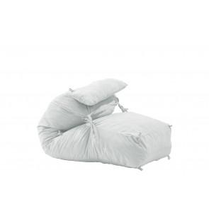 Fotoliu Pufrelax Yoga L + Perna - Angora Grey (Gama Premium) umplut cu fulgi de burete memory mix®