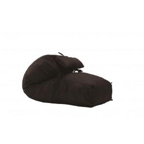 Fotoliu Pufrelax Yoga L + Perna - Dark Chocolate (Gama Premium Textil) umplut cu fulgi de burete memory mix®