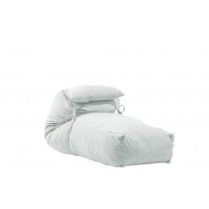 Fotoliu Pufrelax Yoga XL + Perna - Angora Grey (Gama Premium) umplut cu fulgi de burete memory mix®